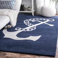 nuLOOM Handmade Anchor Navy Wool Rug (7'6 x 9'6) - 7'6 x 9'6