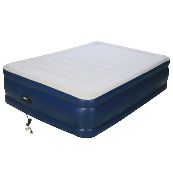 Airtek Deluxe Full-size Raised Flocked Air Bed With Built-in Pump