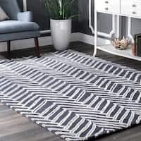 nuLOOM Handmade Chevron Denim Wool Rug (5' x 8') - 5' x 8'