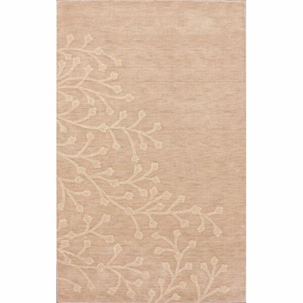 nuLOOM Handmade Floral Natural Wool Rug (7'6 x 9'6)