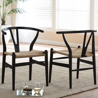 Baxton Studio Wishbone Modern Black Wood Dining Chair with Light Brown Hemp Seat