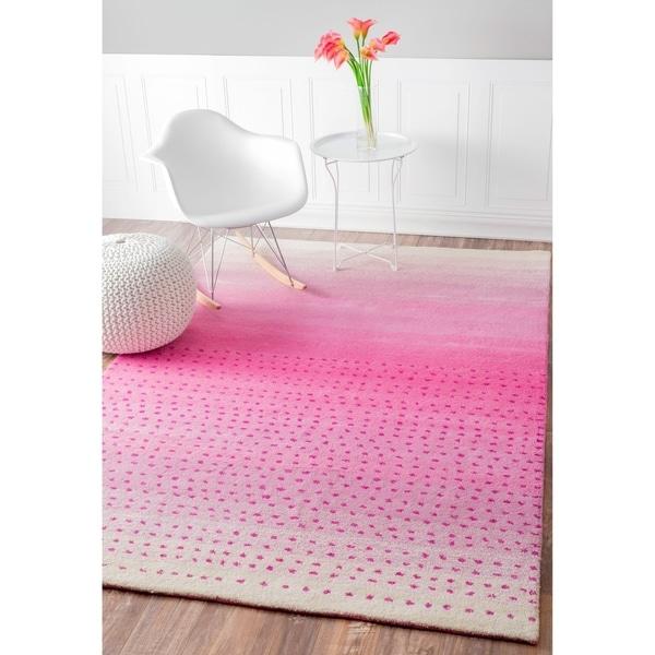 nuLOOM Handmade Ombre Pink Wool Rug (7'6 x 9'6) - 7'6 x 9'6