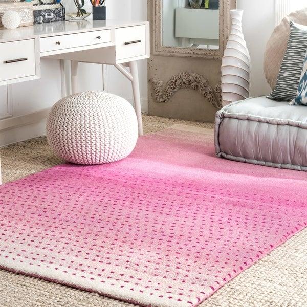 "nuLOOM Handmade Ombre Pink Wool Rug (7'6 x 9'6) - 7'6"" x 9'6"""