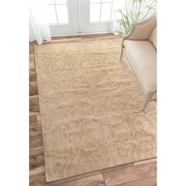 nuLOOM Handmade Parisian Royal Beige Wool Rug (7'6 x 9'6)