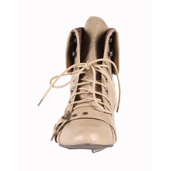 Jacobies by Beston Women's 'Break-1' Beige Ankle Bootie
