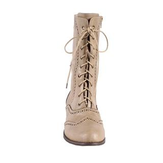 Jacobies by Beston Women's 'Break-3' Beige Mid-Calf Combat Boots