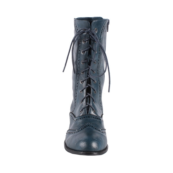Jacobies by Beston Women's 'Break-3' Mid-calf Combat Boots