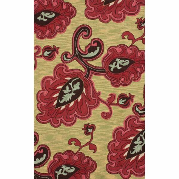 nuLOOM Handmade Floral Natural Rug (7'6 x 9'6)