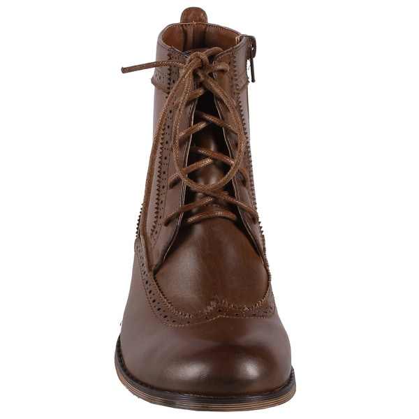 Jacobies by Beston Women's Brown 'Cowgirl-5' Combat Ankle Boots