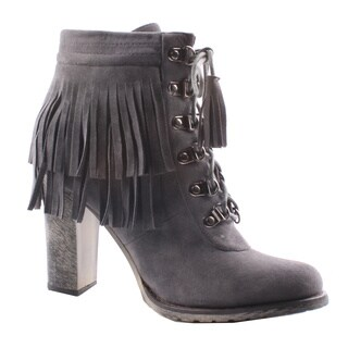 Jacobies by Beston Women's 'Honey-3' Lace Up Ankle Booties on Chunky Heels