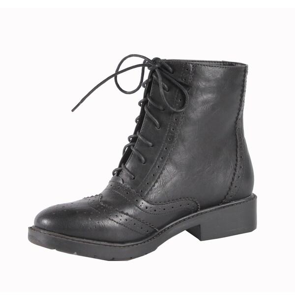 Jacobies by Beston Women's 'WX-1' Black Combat Ankle Boots