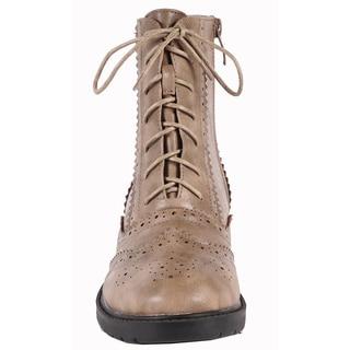 Jacobies by Beston Women's 'WX-1' Khaki Combat Ankle Boots