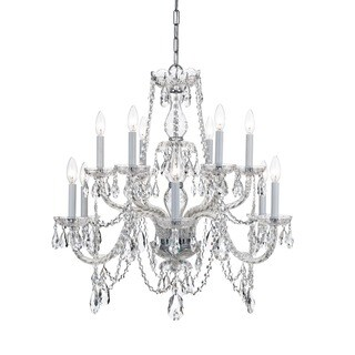 Crystorama Traditional 12-light Chrome Crystal Chandelier