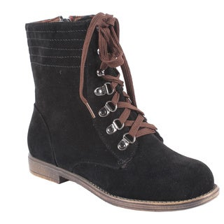 Blossom by Beston Women's 'Cana-6' Black Lace-Up Ankle Boots