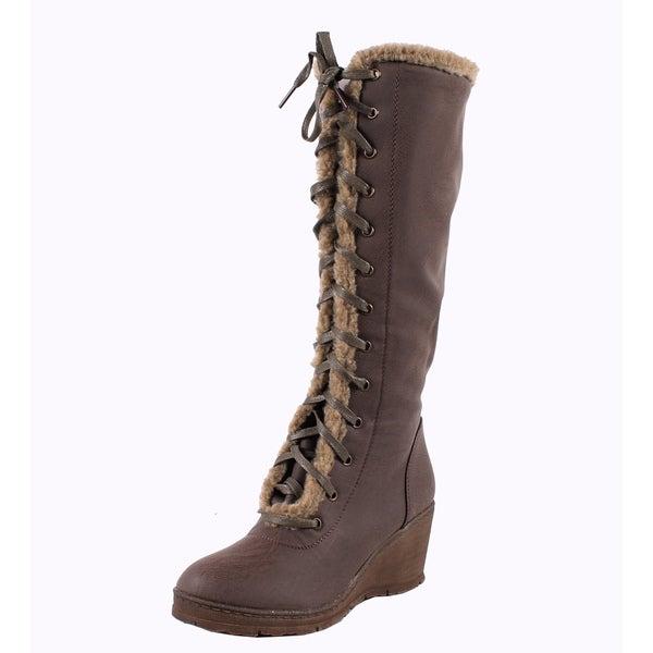 Blossom by Beston Women's 'Olinda-1' Knee High Wedge Boots