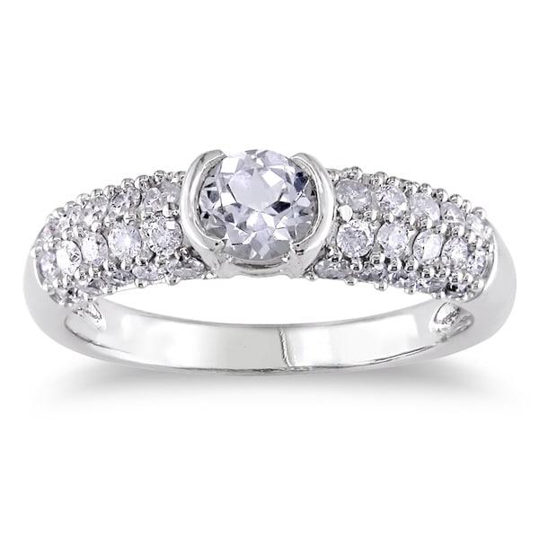 Miadora 14k Gold Created Sapphire and 1/2ct TDW Diamond Ring (H-I, I2-I3)