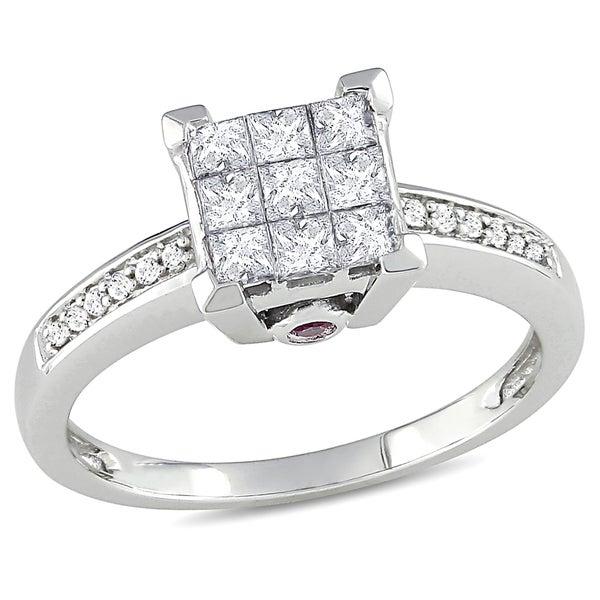Miadora 14k Gold 1/2ct TDW Diamond and Pink Sapphire Ring (H-I, I2-I3)