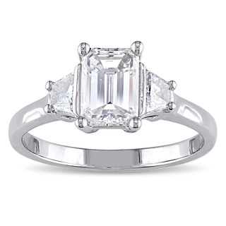 14k White Gold GIA Certified 1 1/2ct TDW Emerald-Cut Diamond 3-Stone Engagement Ringby The Miadora Signature Collection