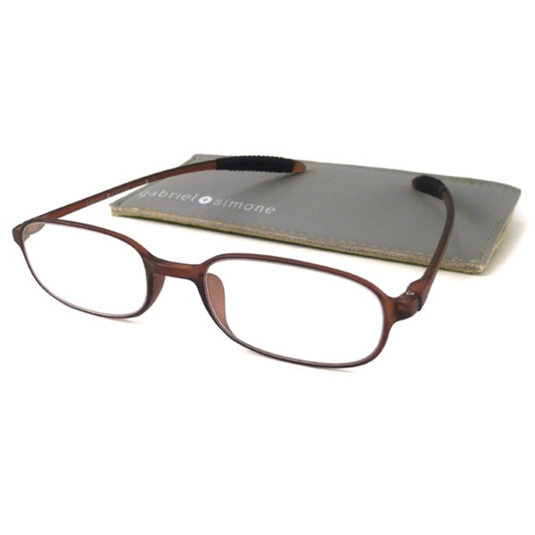 Gabriel+Simone Readers Men's/ Unisex Flexi-Petite Brown Rectangular Reading Glasses