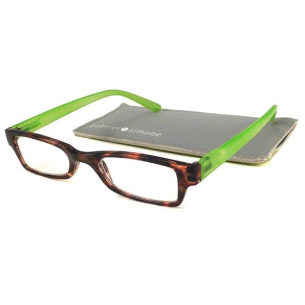 Gabriel+Simone Readers Men's/ Unisex St. Germain Tortoise/ Green Reading Glasses