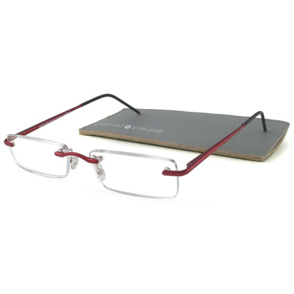 Gabriel+Simone Readers Men's/ Unisex Professeur Red Rectangular Reading Glasses