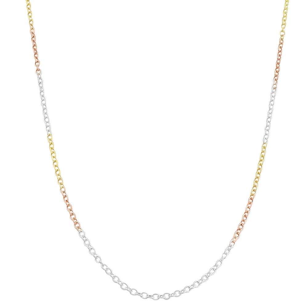 Fremada Tri-color Gold over Sterling Silver Round Cable Chain