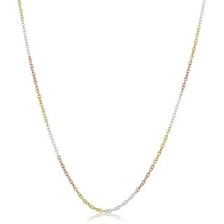 Fremada Tri Color Gold Over Sterling Silver Round Cable Chain Necklace