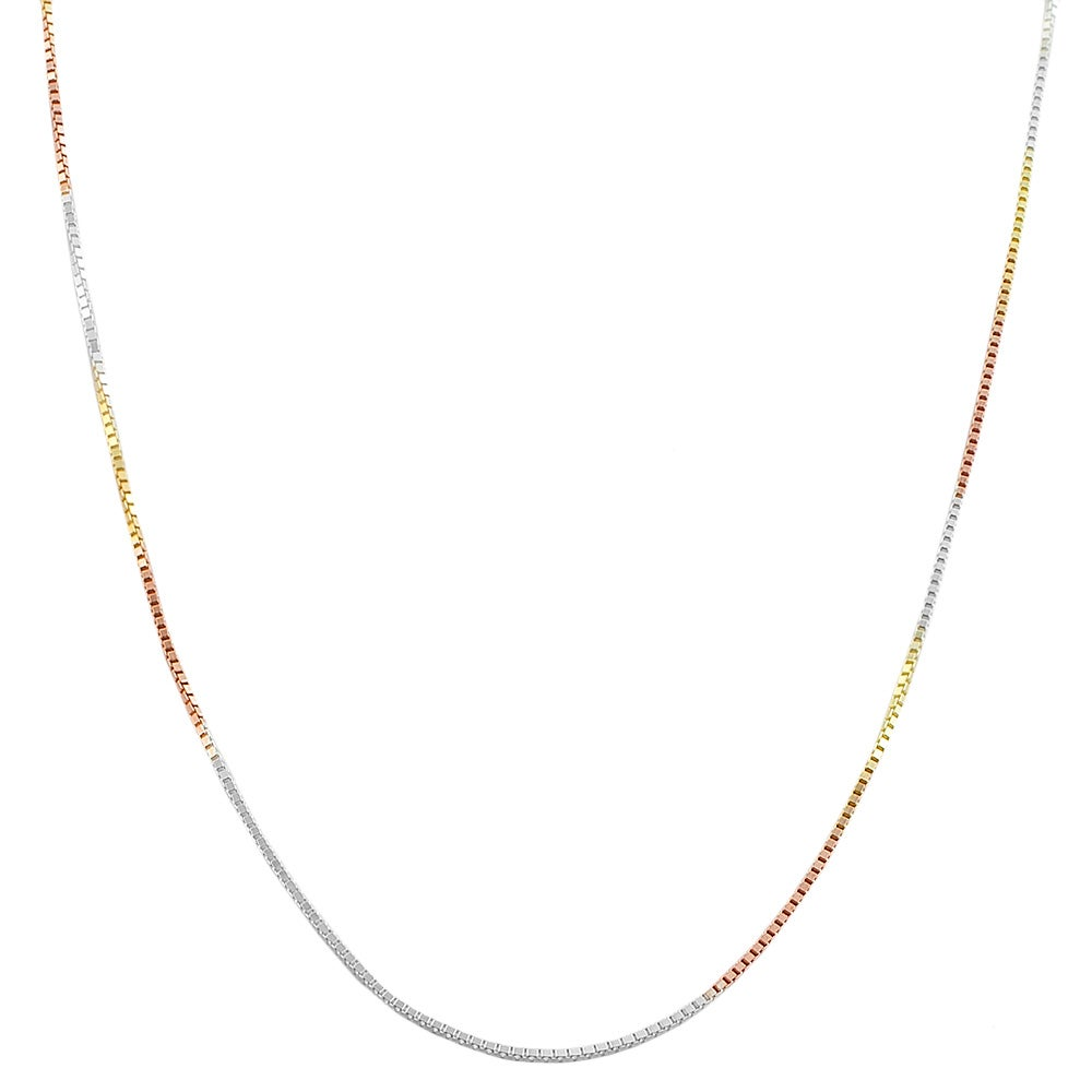 High-polish 14-karat Tricolor Gold over Sterling Silver Box Chain