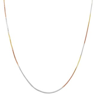 High-polish 14-karat Tricolor Gold over Sterling Silver Box Chain (5 options available)