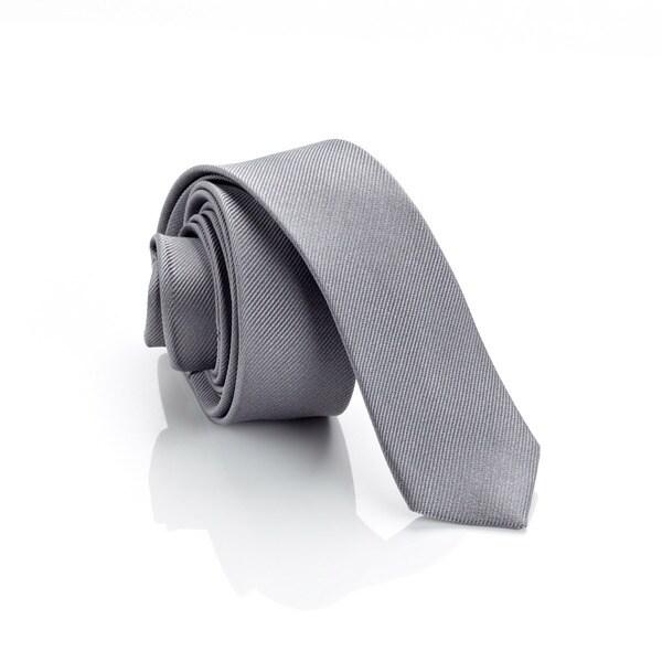 H. Luzzario and Co Men's Grey Italian Silk Slim Tie