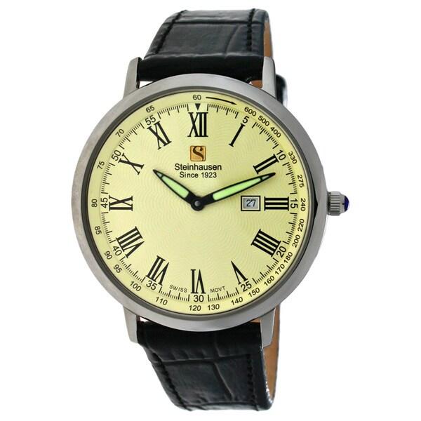Steinhausen Mens Ultra-thin Swiss Movement Silver Case Cream Dial Watch