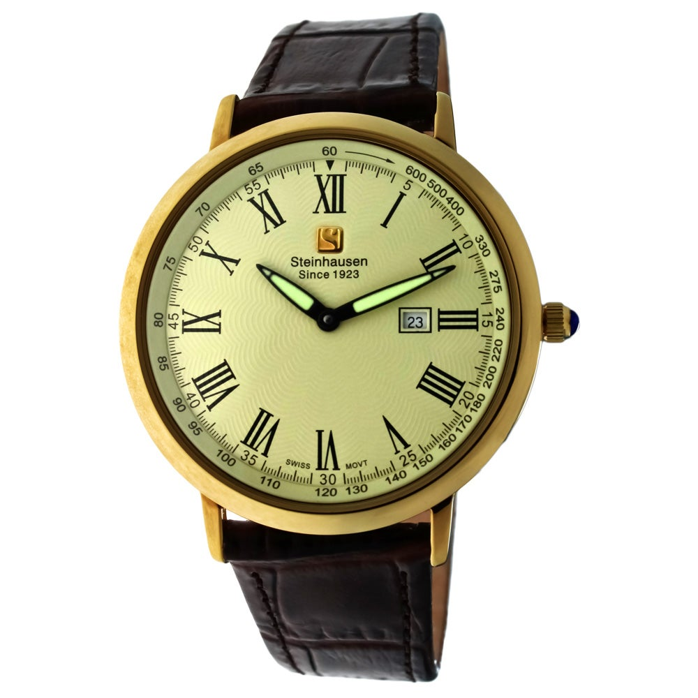 Steinhausen Men's Ultra-thin Swiss Movement Gold Case Cream Dial Watch