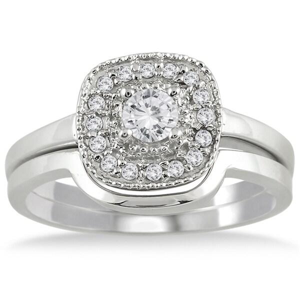 Marquee Jewels  10k White Gold 1/3ct TDW White Diamond Bridal Ring Set (I-J, I1-I2)
