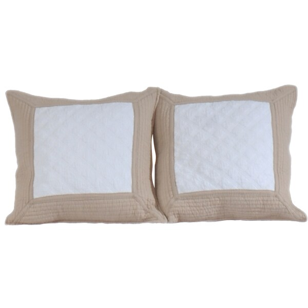 Greenland Home Fashions Brentwood Ivory/ Taupe Quilted Decorative Pillows (Set of 2)