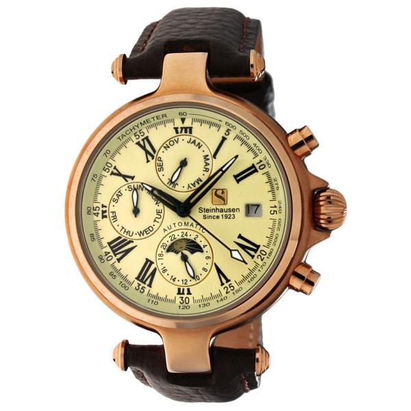 Steinhausen Men's Three Eyes Automatic Rose Gold Case Cream Dial Watch