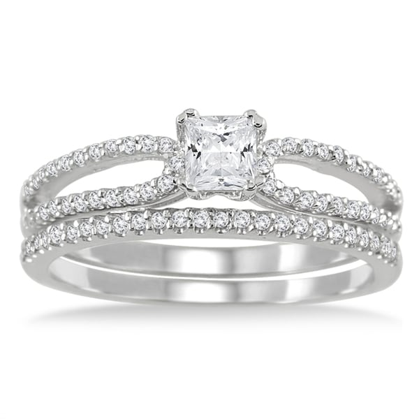 Marquee Jewels 10k White Gold 3/5ct TDW White Diamond Bridal Ring Set (I-J, I1-I2)