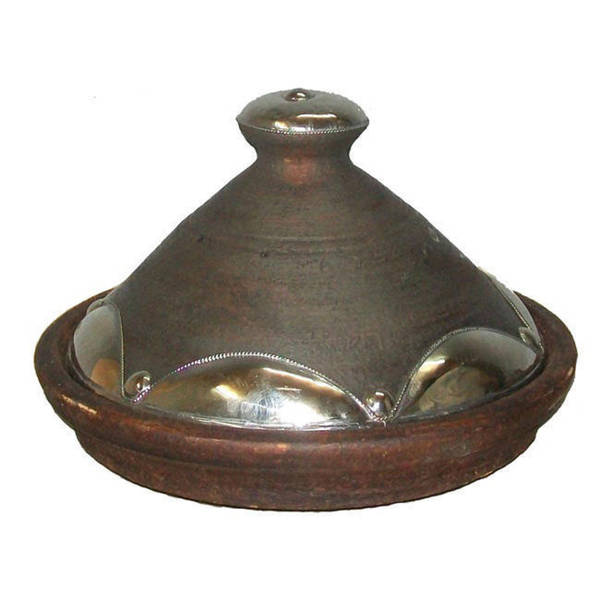 Natural Clay Tagine with Silver Trim (Morocco)