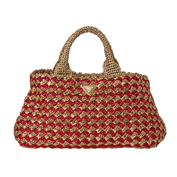 Prada Red/ Honey Bi-Color Raffia Tote Bag