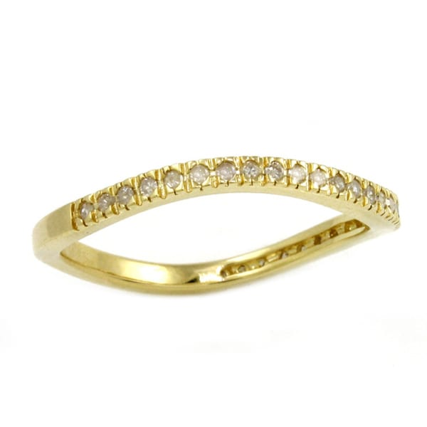 Beverly Hills Charm Yellow Gold over Silver 1/6ct TDW Curved Diamond Band