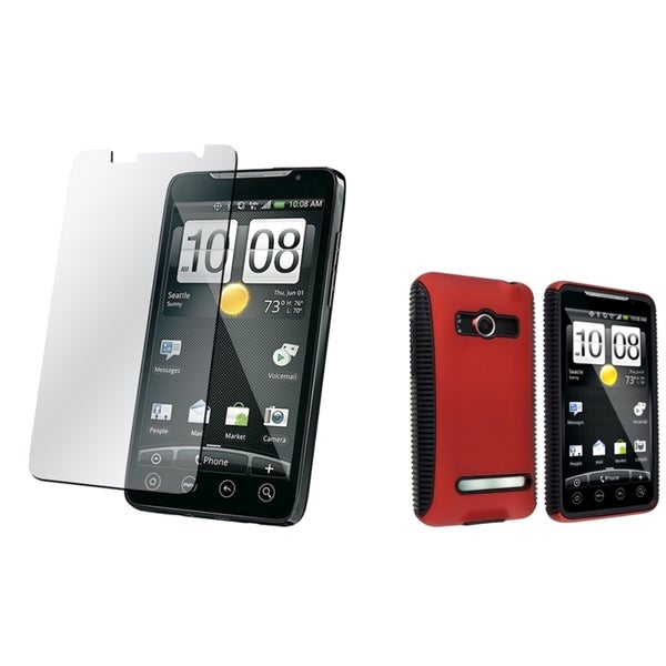 BasAcc Black/ Red Hybrid Case/ Screen Protector for HTC EVO 4G