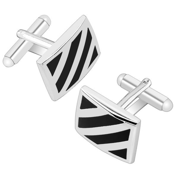 BasAcc Black/ Silver Diagonal Rectangle Cufflink