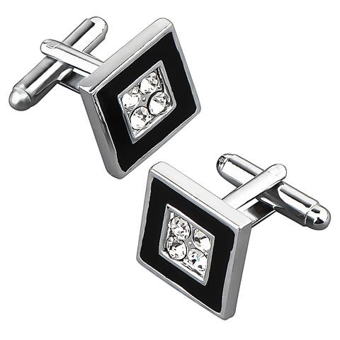 Zodaca Black/ Silver Square Cufflink with 4 Jewels