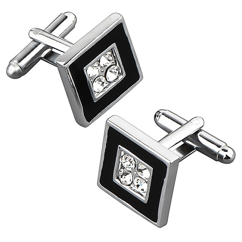 Zodaca Black Silver Square Cufflink With 4 Jewels