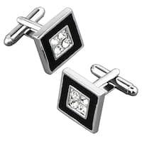 Zodaca Black/ Silver Square Cufflink with 4 Jewels
