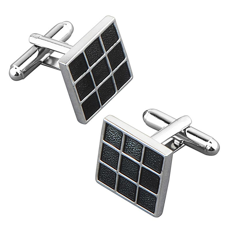 Zodaca Black Grid Square Cufflink|https://ak1.ostkcdn.com/images/products/7136973/80/517/BasAcc-Black-Grid-Square-Cufflink-P14630393.jpg?impolicy=medium