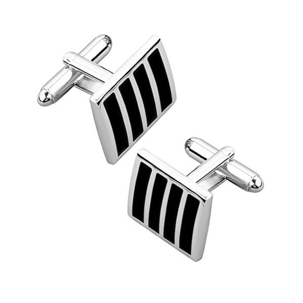 Zodaca Black/ Silver Square Striped Cufflinks