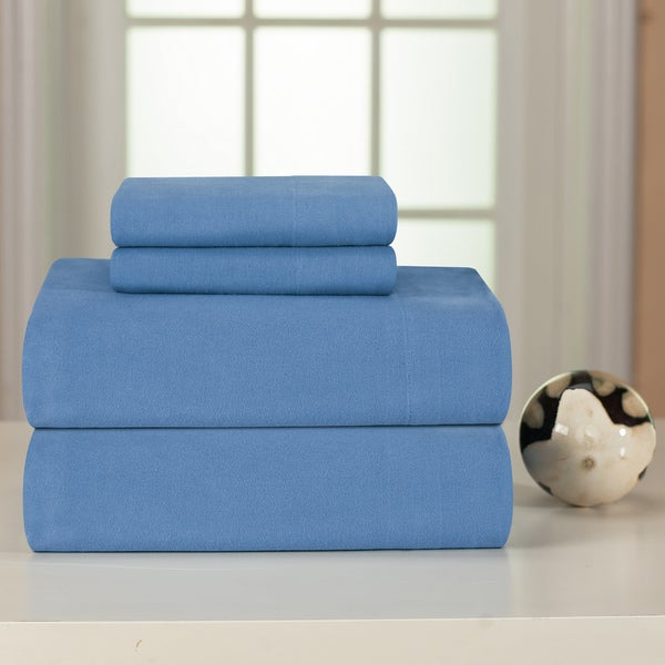 Pointehaven Blue Solid Heavyweight Flannel Sheet Set