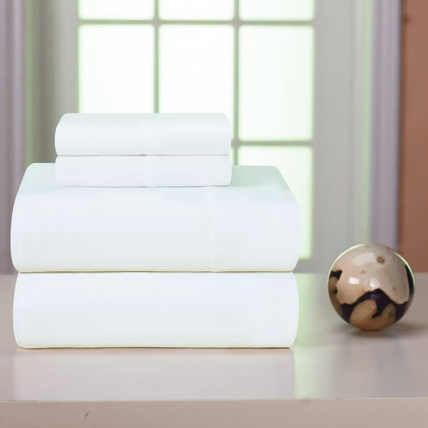 Pointehaven White Solid Heavyweight Flannel Sheet Set