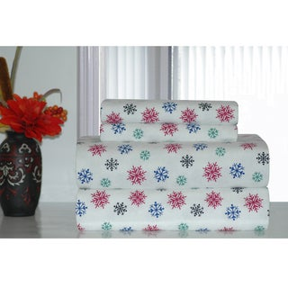 Pointehaven Multicolor Snowflakes Printed Heavyweight Flannel Sheet Set