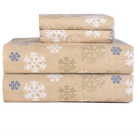 Pointehaven Snowflakes Oatmeal Printed Heavyweight Flannel Bed Sheet Set